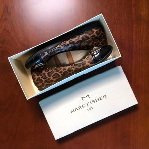 Marc Fisher Cheetah Patent Buckle Flats size 7.5 M
